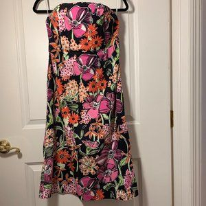 Lilly Pulitzer Size 8 Strapless Midi Cotton Dress